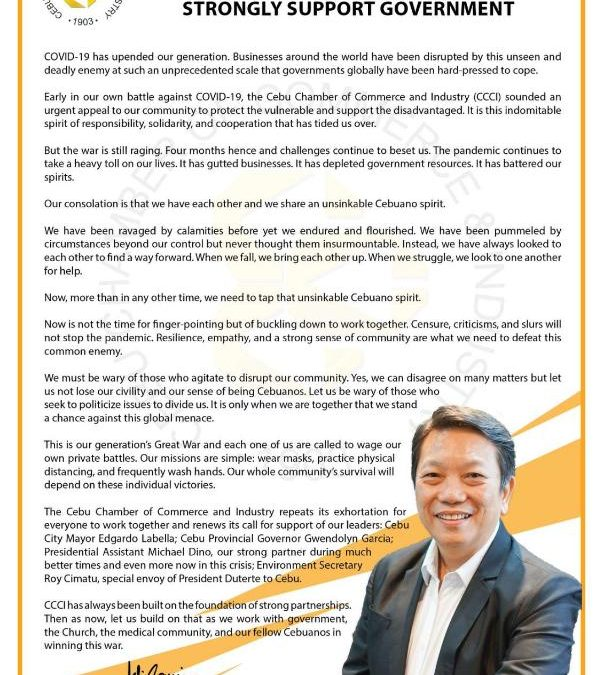 Cebu Business Community Appeals for Calm and Sobriety, Rallies Cebuanos and Strong Support Government