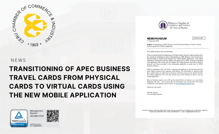 Transitioning of APEC Business Travel Cards from Physical Cards to Virtual Cards using the New Mobile Application