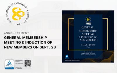 GENERAL MEMBERSHIP MEETING & INDUCTION OF NEW MEMBERS on SEPT. 23
